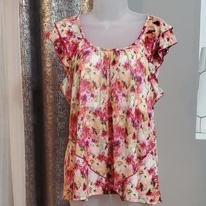 ROZ&ALI silky floral, ruffle top size XLP